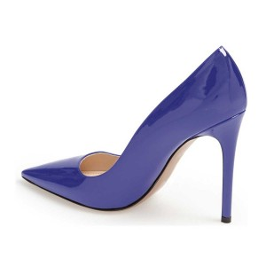 On Sale Blue Office Heels Patent Leather Dressy Pumps