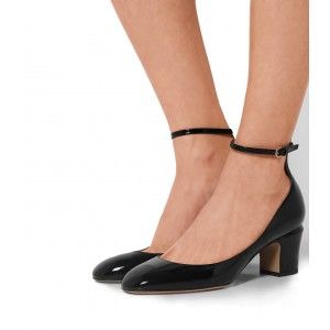 Black Round Toe Block Heel Ankle Strap Pumps for Ladies