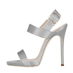 Women's Silver Formal Stiletto Heels Open Toe Office Sandals