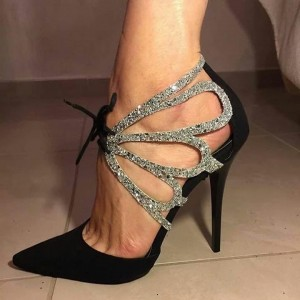 Black and Silver Glitter Pointy Toe Lace up Stiletto Heel Prom Shoes