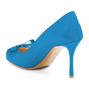 4 inch Heels Blue Round Toe Stiletto Heels Pumps With Bow