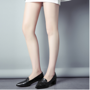 Black Vintage Pointy Toe Low Heel Loafers for Women US Size 3-15