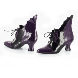 Purple and Black Wingtip Boots Patent Leather Halloween Witch Boots