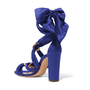 Women's Deep Blue Bow Chunky Heel Strappy Sandals