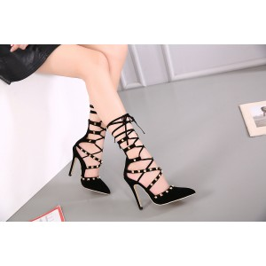 Women's Black Rivets Stiletto Heel Pumps Strappy Shoes
