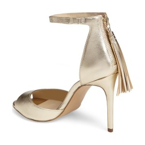 Champagne Tassel Sandals Peep Toe Ankle Strap Stiletto Heel Sandals