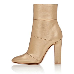 Gold Dressy Short Boots Chunky Heel Fashion Ankle Booties US Size 3-15