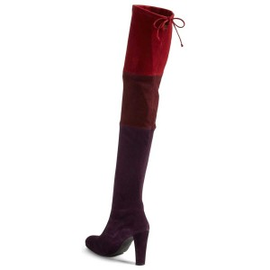 Multi-color Chunky Heel Long Boots Suede Women's Knee-over Boots