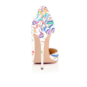 White Floral Heels Pointy Toe D'orsay Pumps Stiletto Heels