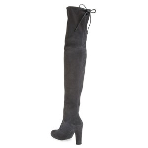 Dark Grey Long Boots Chunky Heel Thigh-high Boots for Women