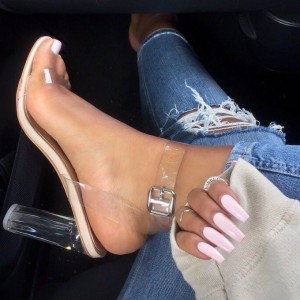 Women's Transparent Chunky Heel Sandals Open Toe Ankle Strap Sandals