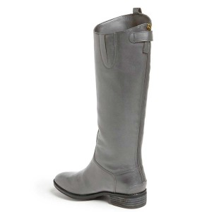 Grey Riding Boots Fashion Vegan Leather Low Heel Knee Boots
