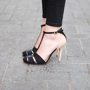 Black and Nude T Strap Sandals Round Toe Stiletto Heel Pumps
