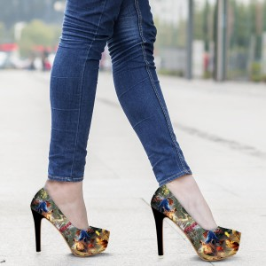 6d5c51de77 ... Beauty and the Beast Floral Heels Halloween Shoes Platform High Heels