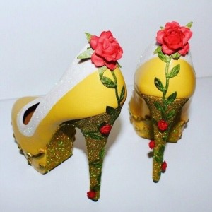 Yellow Beauty and the Beast Rose Glitter Stiletto Heels Pumps