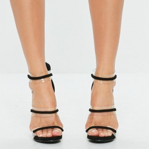 Black Stiletto Heels Clear Tri-Straps Sandals