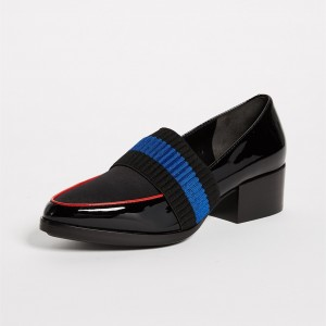 Black Almond Toe Patent Leather Loafers for Women with Knit