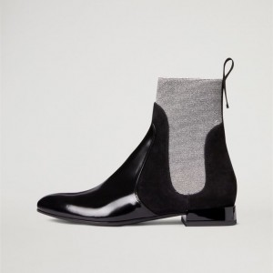 Black and Grey Chelsea Boots Flat Ankle Boots