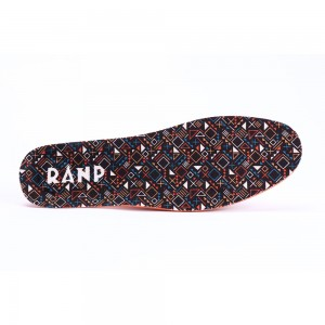 Black and Orange Geometry Printed Shoes Insoles