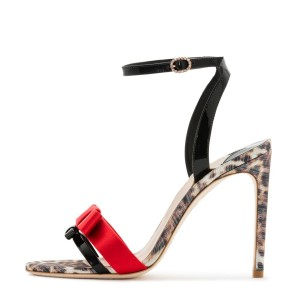Black and Red Bow Leopard Print Ankle Strap Slingback Heels Sandals
