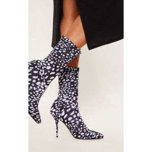 Black and White Dots Sock Boots Pointy Toe Lycra Fashion Booties