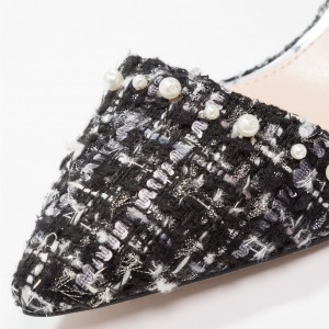 Black and White Cross Over Chunky Heels Pointy Toe Vintage Shoes