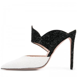 Black and White Glitter Mule Heels