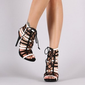 Black and White Heels Hollow-out Stiletto Heels Lace up Sandals