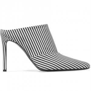Black and White Stripes Mule Heels Pointy Toe Stiletto Heels for Women