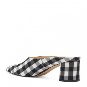Black and White Plaid Mule Heels Pointed Toe Block Heel Mules