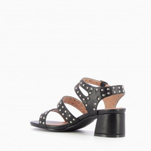 Black Block Heel Sandals Slingback Heels Sandals with Studs
