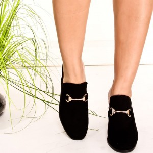 Black Suede Loafer Mules Round Toe Chunky Heel Loafers for Women