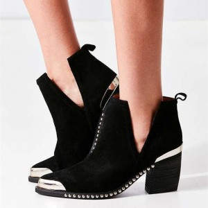 Black Cut Out Boots Suede Metal Pointy Toe Studs Short Boots