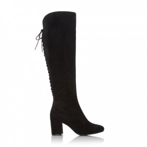 Black Chunky Heels Boots Round Toe Back Lace up Knee-high Boots