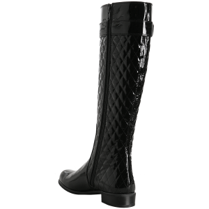Black Tall Boots Round Toe Patent Leather Quilted Flat Knee Boots
