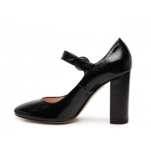 Black Chunky Heels Mary Jane Shoes Square Toe Pumps for Office Lady
