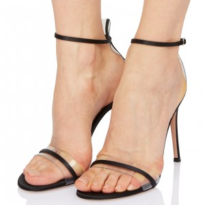 Black Clear Heels Open Toe Ankle Strap Sandals