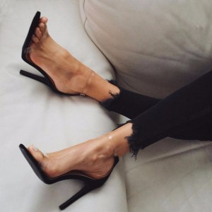 Black Clear Sandals Stiletto Heel Ankle Strap Sandals