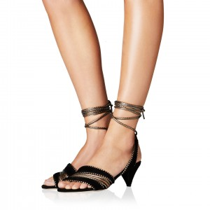 Black Cone Heels Strappy Sandals Slingback Shoes