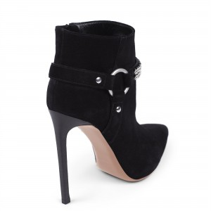 Black Suede Boots Pointy Toe Chain Stiletto Heel Fashion Ankle Booties