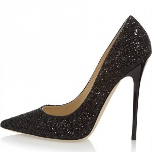 Black Glitter Shoes Stiletto Heel Pumps