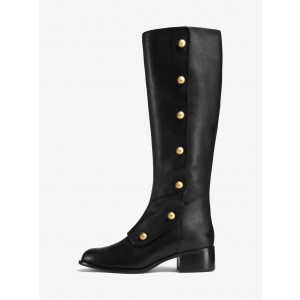 Black Gold Studs Chunky Heel Boots Knee High Boots
