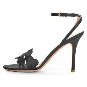 Black Heart Ankle Strap Sandals Stiletto Heels Slingback Sandals