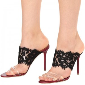 Black Lace and Clear PVC Mule Heels Sandals