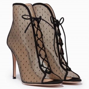 Black Lace Peep Toe Lace up Ankle Summer Boots