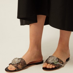 Black Lace Rhinestones Women's Slide Sandals