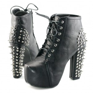 Black Lace up Boots Chunky Heels Platform Shoes with Rivets