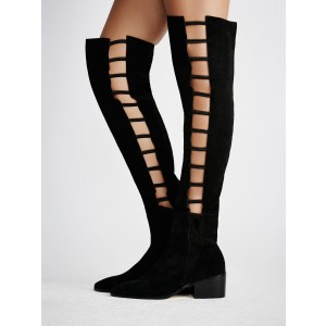 Black long Boots Suede Round Toe Flat Knee-high Boots