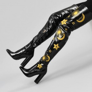 Black Oily Leather Embroider Chunky Heel Boots Thigh High Boots
