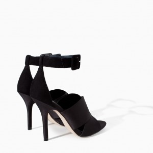 Black Open Toe Stiletto Heels Buckle Satin Ankle Strap Sandals